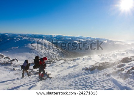 Hiker are in winter mountains #24271813