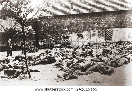 German soldiers standing by corpses after mass execution of all the men in Lidice, Czechoslovakia, June 1942. In retaliation for the assassination of Reichsfurher Heydrich Reinhard. June 1942. #242815165