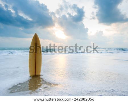 Surfboard on the beach at sunset #242882056