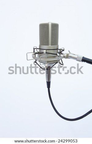 a recording boom mic pointing up on a white background