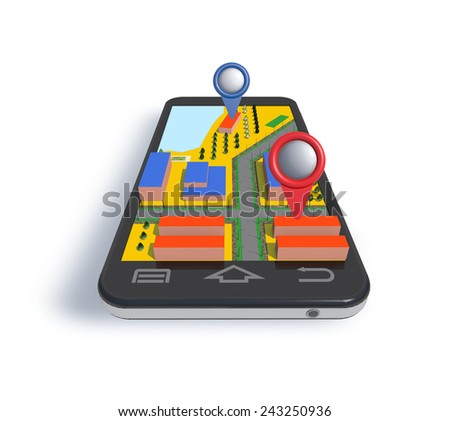 Mobile phone navigator with dimensional map is on white background. #243250936