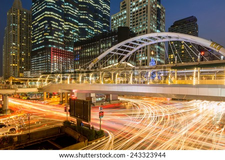 public skywalk at bangkok downtown square night in sathorn business zone #243323944