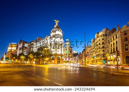 Gran Via, main shopping street in Madrid, Spain at dusk #243324694