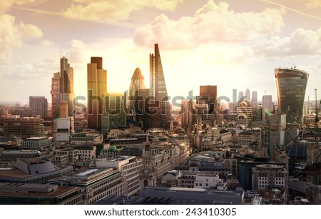 London sunset. View on business modern district Royalty-Free Stock Photo #243410305