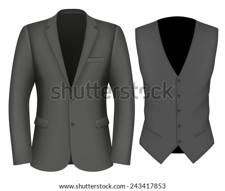 Formal Business Suits for Men (jacket and waistcoat). vector illustration. #243417853
