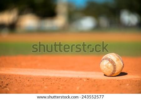 Baseball on Pitchers Mound #243552577