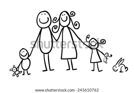 Hand line drawing sticky figures of a family - parents children pet