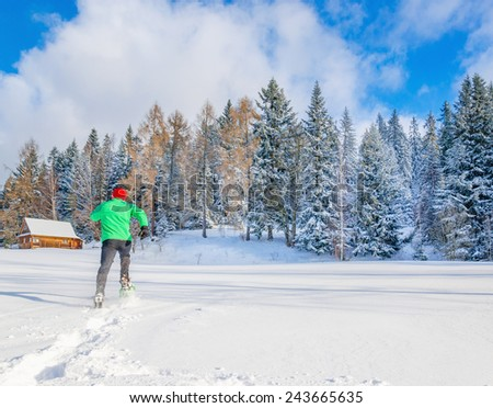 Man in green jacket and red cap running in snow towards forest #243665635