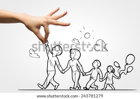 Human hand and caricature of happy family of four
