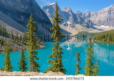 Majestic mountain lake in Canada. #243786673