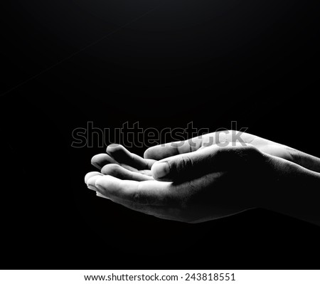 Black and white human hands of prayer #243818551