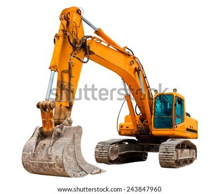 Yellow excavator Royalty-Free Stock Photo #243847960