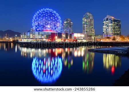 Vancouver at night, Vancouver, British Columbia, Canada.