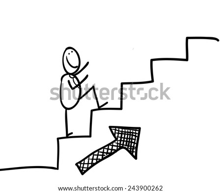 Hand line drawing of a sticky figure go ascending on stairs