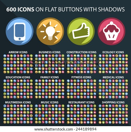 Set of 600 Universal and Standard White Icons on Flat Circular Colored Buttons with Shadows on Black Background ( isolated elements ) Royalty-Free Stock Photo #244189894