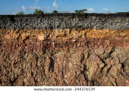 The curb erosion from storms. To indicate the layers of soil and rock. Royalty-Free Stock Photo #244376539