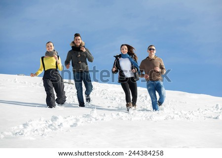 happy young beautiful people group have fun and enjoy fresh snow at beautiful winter day #244384258