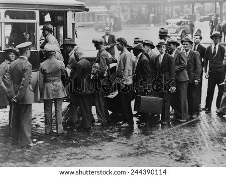 World War I veterans boarding a bus taking them from New York City's Battery to Fort Slocum, about 40 miles away for dollar-a-day jobs at government's reforestation camp. Photo taken in 1933. #244390114