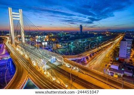 High top view on Basarab Bridge, Romania