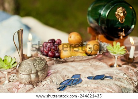 wedding decor with flowers and fruits #244621435