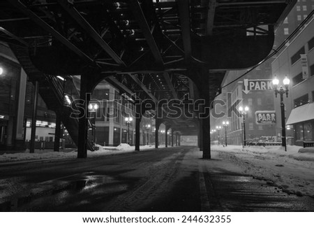 Under the tracks in downtown Chicago.