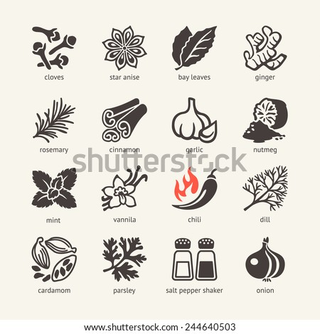 Web icon set - spices, condiments and herbs #244640503