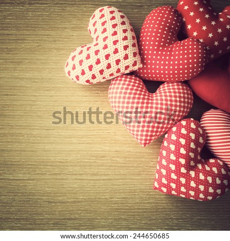 Hearts on wood table