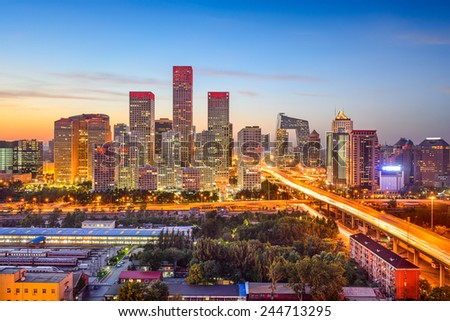 Beijing, China CBD skyline at sunset.