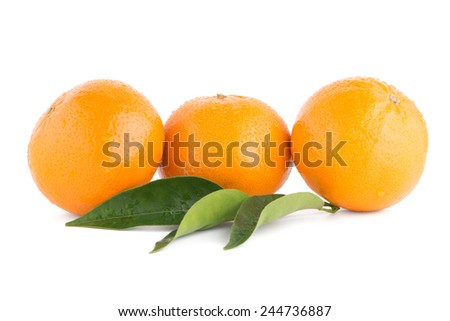 Ripe tangerine or mandarin isolated on white background #244736887