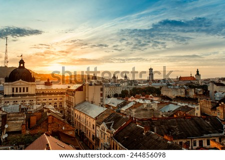 Lviv old city panorama view at sunrise Royalty-Free Stock Photo #244856098