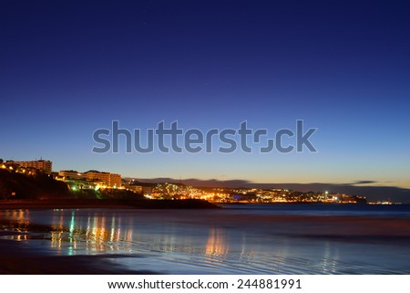 Night view of Gran Canaria beach coast on Canary Islands, Spain #244881991