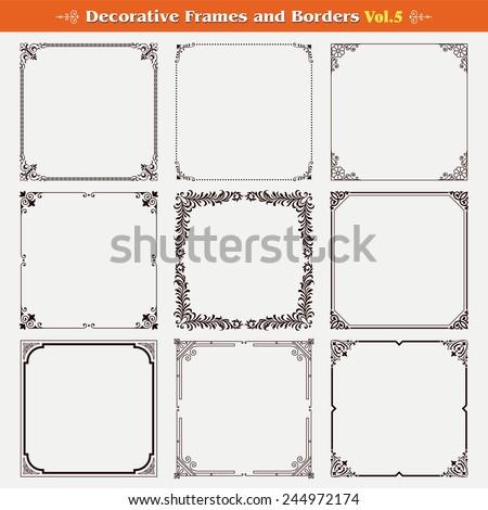 Decorative frames and borders set 5 vector #244972174