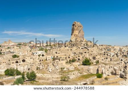 Monumental ancient Ortahisar castle in Cappadocia, Turkey #244978588