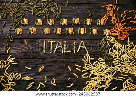 Italian cooking. Pasta  in italian flag colors. Tricolori pasta fusili #245062537