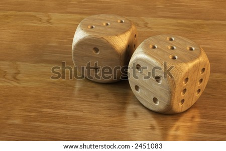 3d rendering of the dice on the wooden table #2451083