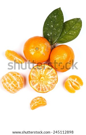 Fresh and sweet manadrins on white background #245112898