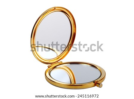 Golden mirror isolated on white #245116972