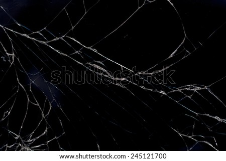 smart phone with broken screen isolated on white background.