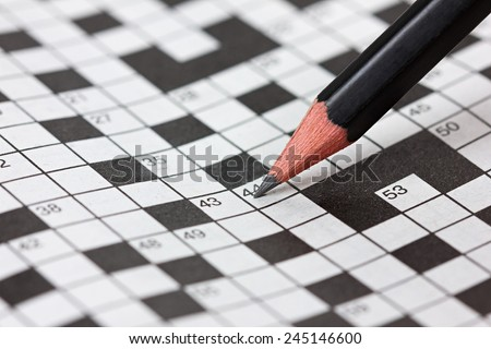 crossword puzzle and pencil #245146600