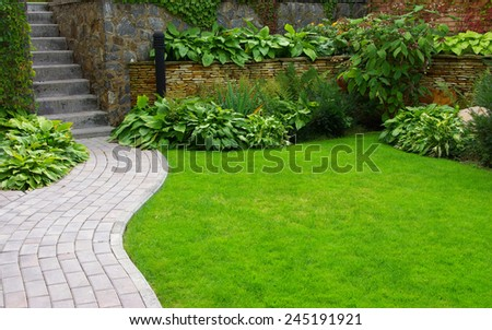 Garden stone path with grass growing up between the stones #245191921