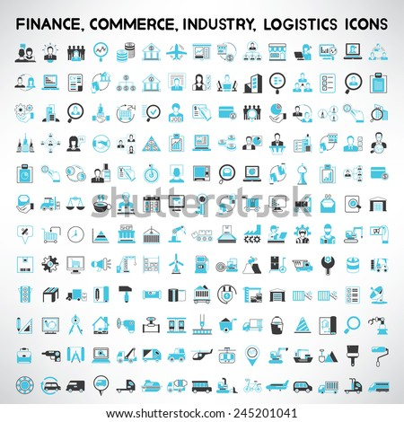 industry icons, finance icons, commerce icons, logistics and shipping icons set Royalty-Free Stock Photo #245201041