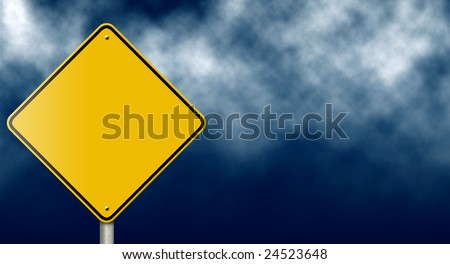Blank warning road sign against stormy sky.