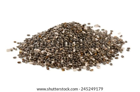 chia seeds isolated on white Royalty-Free Stock Photo #245249179