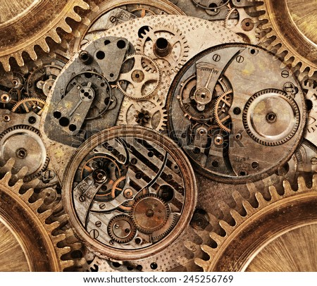 Abstract background. Stylized collage of a mechanical device Royalty-Free Stock Photo #245256769