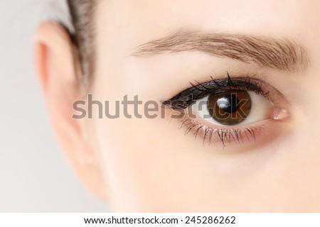 Macro image of human eye, Close up view of a brown woman eye  #245286262