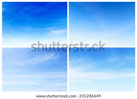 collection fantastic soft white clouds against blue sky, set 4. #245286649