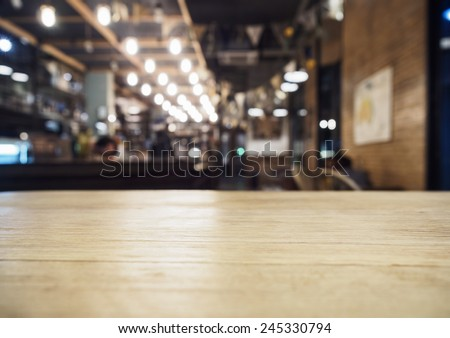 Top of table with Bar Cafe Restaurant blurred background  #245330794