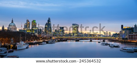 Panoramic view of London skyline over river Thames.