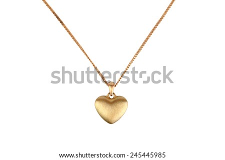 Golden heart pendant isolated on white #245445985