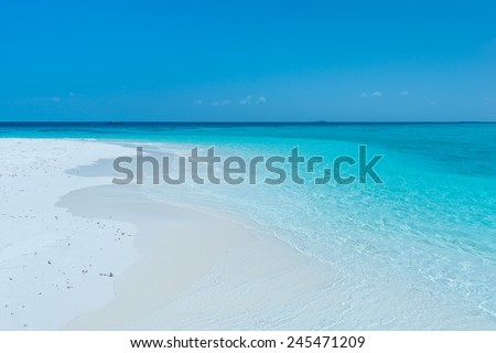 Tropical island in the Indian Ocean. White sand beach, blue sky and a strip of ocean #245471209